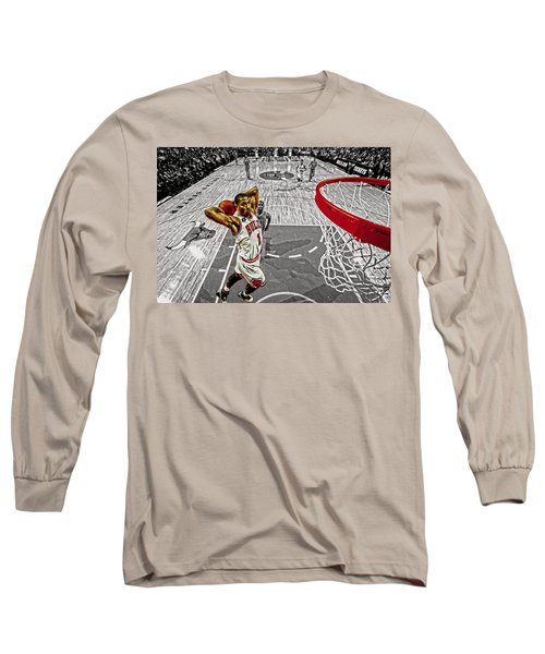 Derrick Rose Took Flight Long Sleeve T-Shirt by Brian Reaves