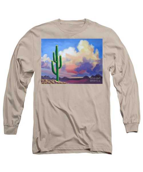 Long Sleeve T-Shirt featuring the painting Desert Cactus At Sunset by Tim Gilliland