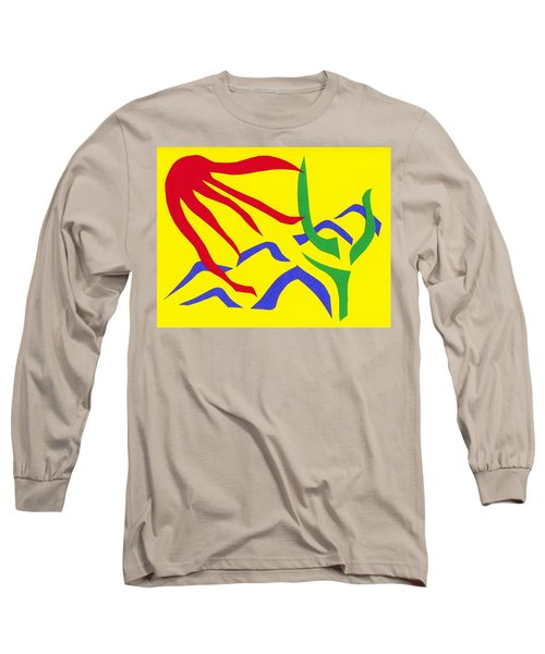 Long Sleeve T-Shirt featuring the mixed media Desert Sun by Delin Colon