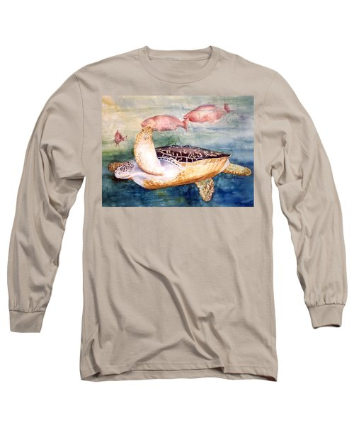 Long Sleeve T-Shirt featuring the painting Determined - Loggerhead Sea Turtle by Roxanne Tobaison