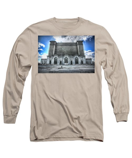 Detroit's Abandoned Michigan Central Train Station Depot Long Sleeve T-Shirt by Gordon Dean II