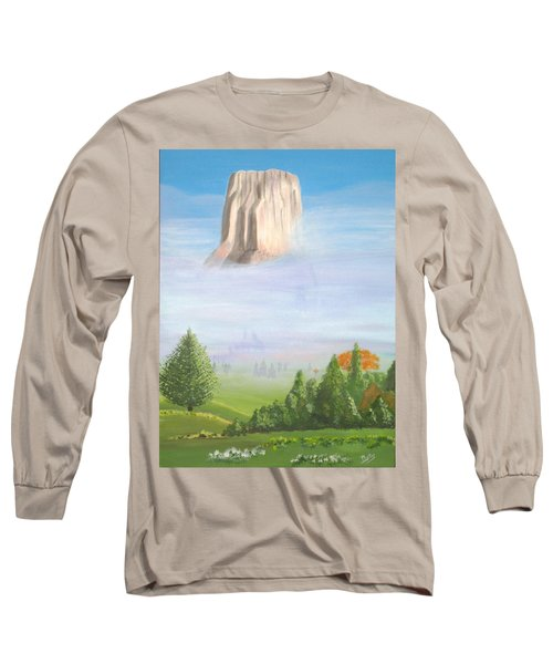 Long Sleeve T-Shirt featuring the painting Devil's Tower  by Phyllis Kaltenbach