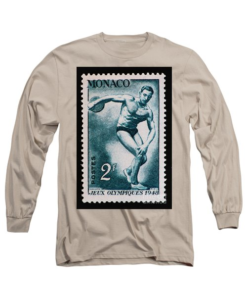 Discus Vintage Postage Stamp Print Long Sleeve T-Shirt by Andy Prendy