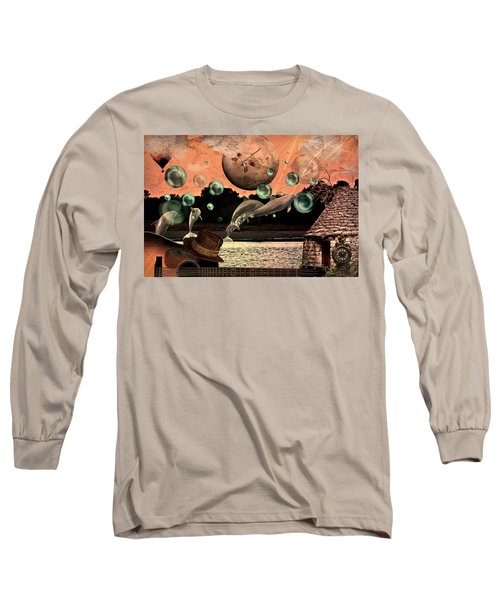 Long Sleeve T-Shirt featuring the mixed media Dolphin Dreams by Ally  White