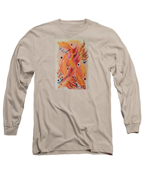 Long Sleeve T-Shirt featuring the painting Dolphins And Fish by Lyn Olsen