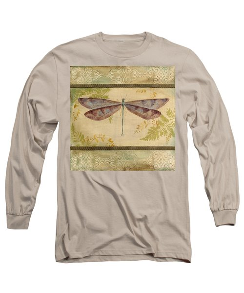 Dragonfly Among The Ferns-3 Long Sleeve T-Shirt by Jean Plout