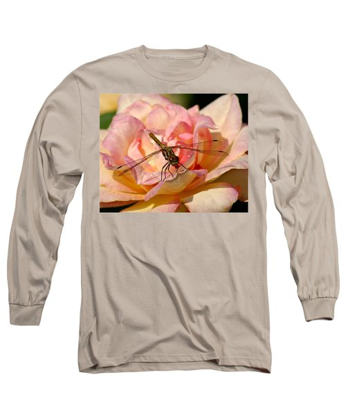 Dragonfly On A Rose Long Sleeve T-Shirt