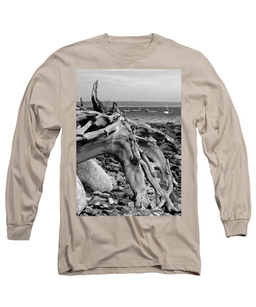 Driftwood On Rocky Beach Long Sleeve T-Shirt