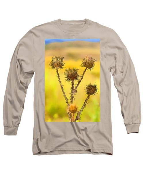 Dry Brown Thistle Long Sleeve T-Shirt