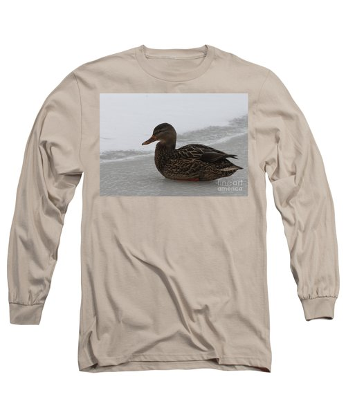 Long Sleeve T-Shirt featuring the photograph Duck On Ice by John Telfer