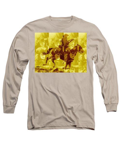 Long Sleeve T-Shirt featuring the digital art Duel In The Saddle 1 by Seth Weaver
