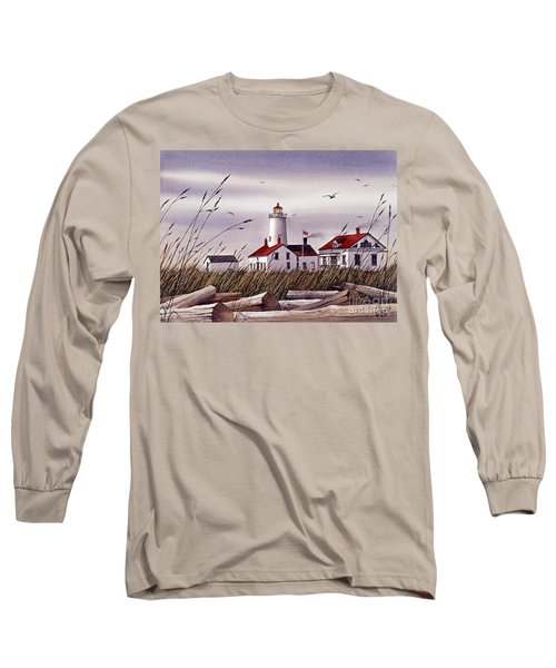 Dungeness Lighthouse Long Sleeve T-Shirt by James Williamson
