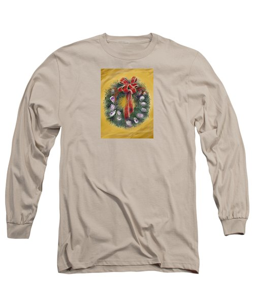 Long Sleeve T-Shirt featuring the painting Duxbury Oyster Wreath by Jean Pacheco Ravinski