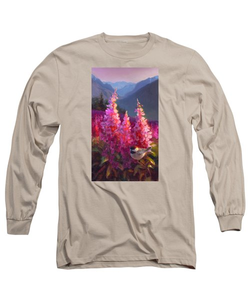 Eagle River Summer Chickadee And Fireweed Alaskan Landscape Long Sleeve T-Shirt by Karen Whitworth