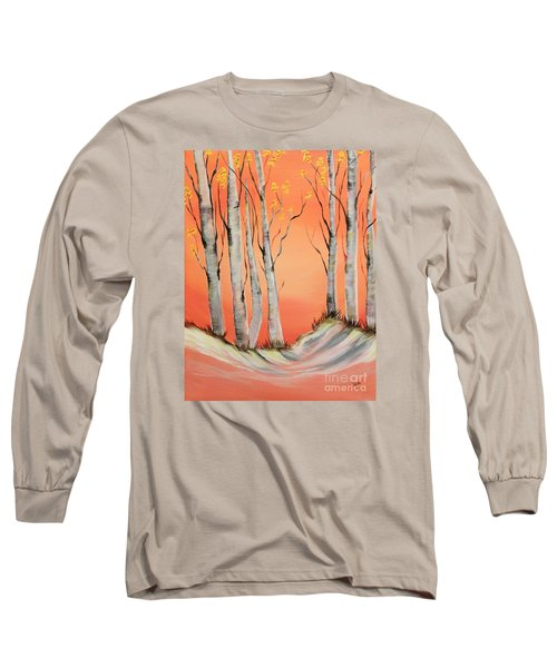Long Sleeve T-Shirt featuring the painting Early Winter Aspen by Janice Rae Pariza