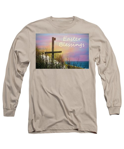 Easter Blessings Cross Long Sleeve T-Shirt by Sandi OReilly