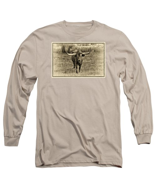 Eat Leaf Not Beef Sepia Long Sleeve T-Shirt by Priscilla Burgers