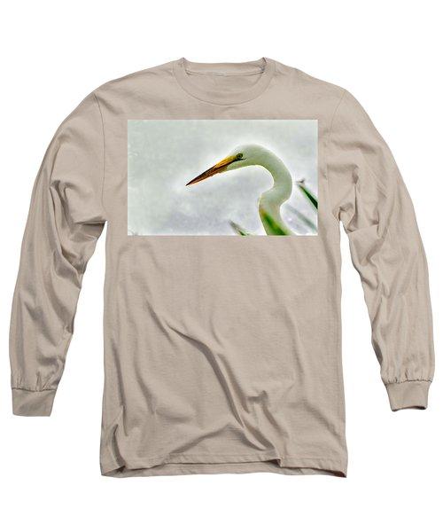 Egret Close-up Long Sleeve T-Shirt