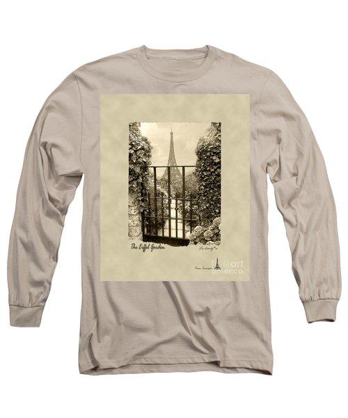 Eiffel Garden Sepia Long Sleeve T-Shirt