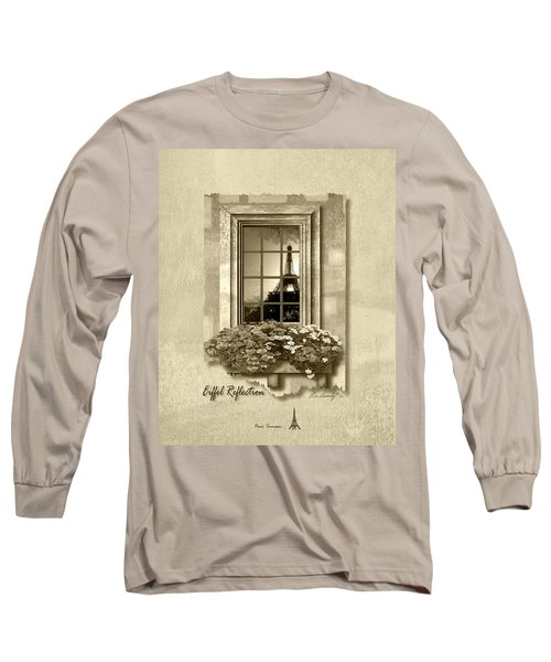 Eiffel Reflection In Sepia Long Sleeve T-Shirt