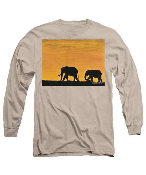 Elephants - At - Sunset Long Sleeve T-Shirt by D Hackett