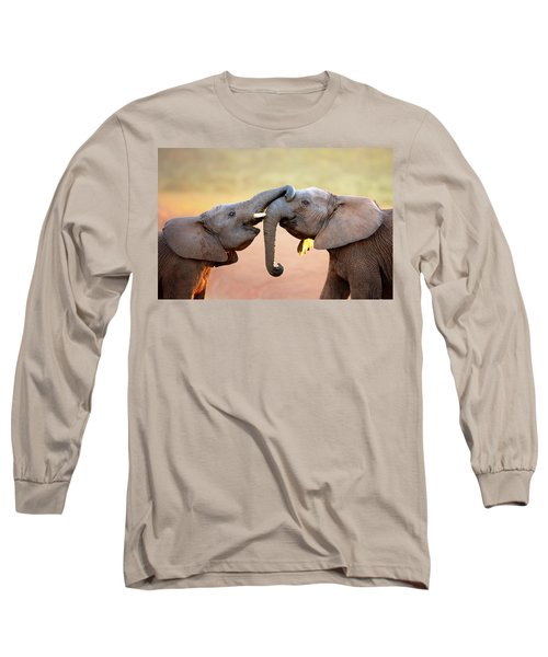 Elephants Touching Each Other Long Sleeve T-Shirt by Johan Swanepoel