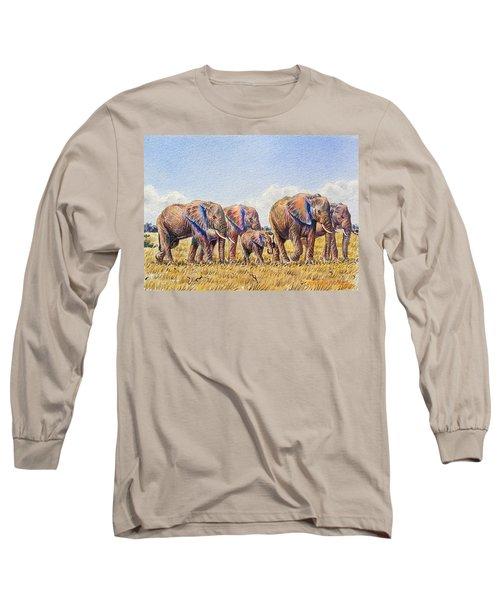 Elephants Walking Long Sleeve T-Shirt