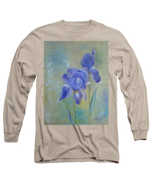 Long Sleeve T-Shirt featuring the painting Elizabeth's Irises by Judith Rhue
