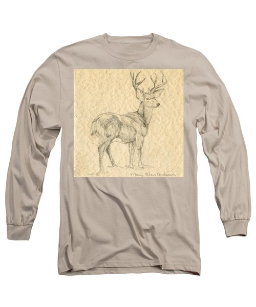 Long Sleeve T-Shirt featuring the drawing Elk by Mary Ellen Anderson