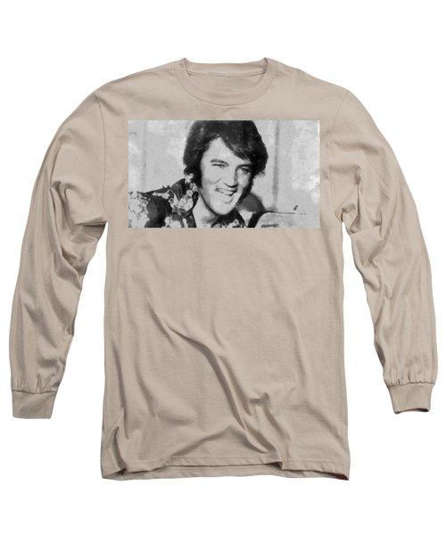 Elvis Presley Rock N Roll Star Long Sleeve T-Shirt by Georgi Dimitrov