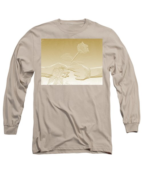 Embossed Gold Rose By Jan Marvin Studios Long Sleeve T-Shirt