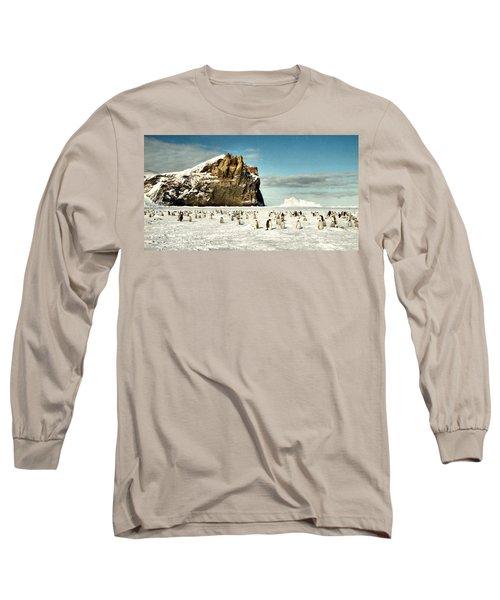 Emperor Penguin Colony Cape Washington Antarctica Long Sleeve T-Shirt