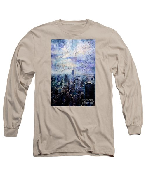 Empire State Building In Blue Long Sleeve T-Shirt by Ryan Fox