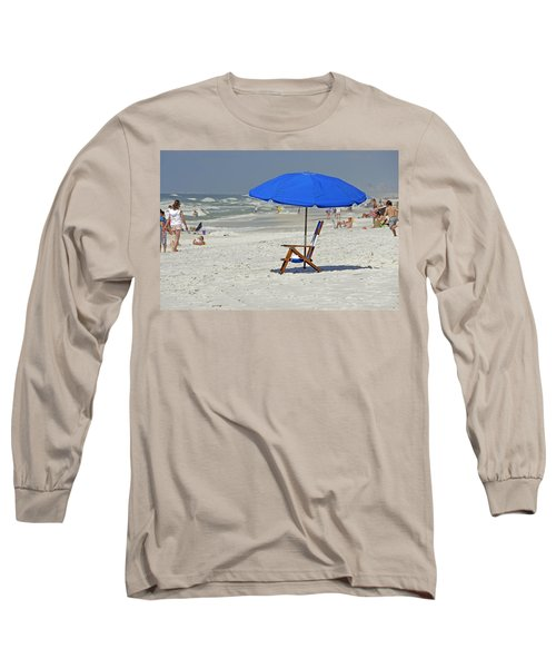 Long Sleeve T-Shirt featuring the photograph Empty Beach Chair by Charles Beeler