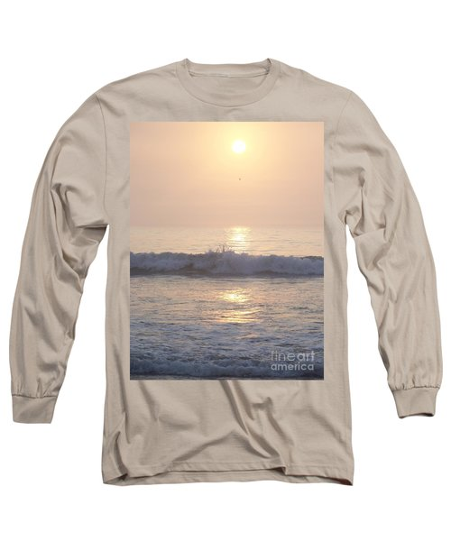 Hampton Beach Wave Ends With A Splash Long Sleeve T-Shirt by Eunice Miller