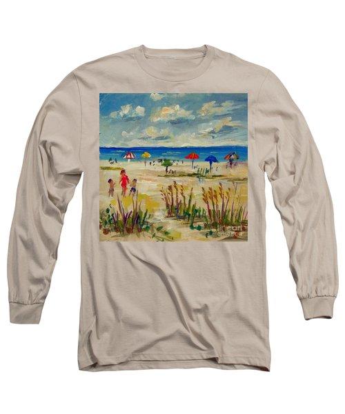 Long Sleeve T-Shirt featuring the painting Enjoying Siesta Beach by Lou Ann Bagnall