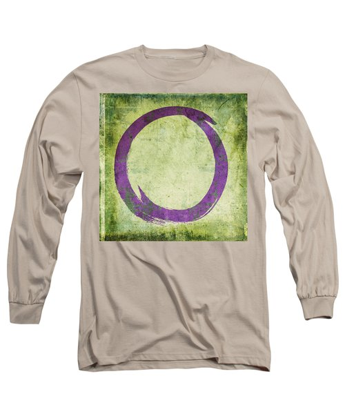 Enso No. 108 Purple On Green Long Sleeve T-Shirt