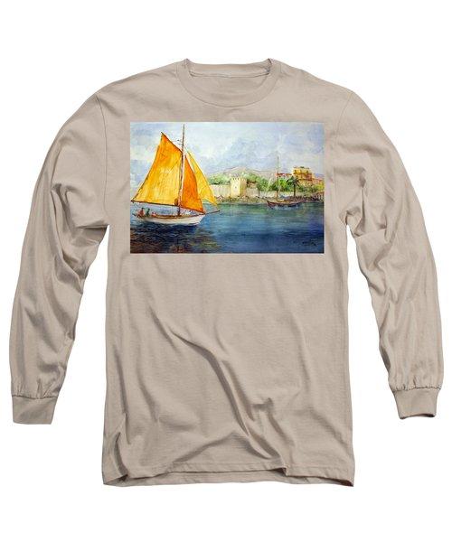 Entering The Port - Foca Izmir Long Sleeve T-Shirt by Faruk Koksal