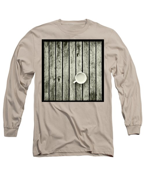 Espresso On A Wooden Table Long Sleeve T-Shirt