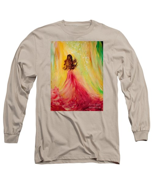 Long Sleeve T-Shirt featuring the painting Expecting by Teresa Wegrzyn