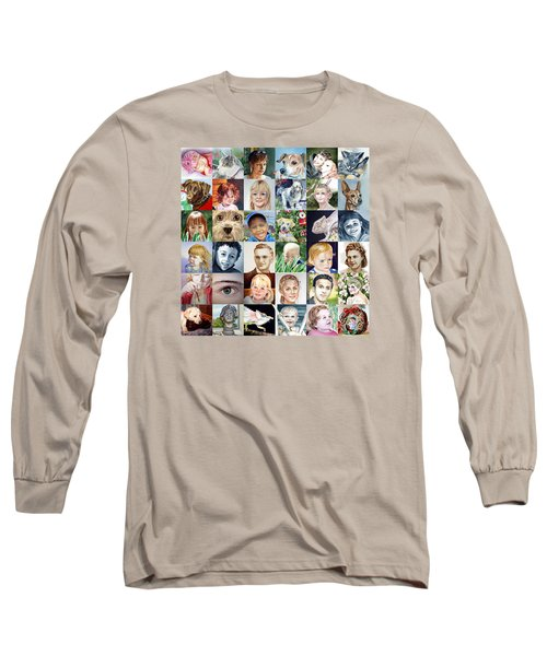 Facebook Of Faces Long Sleeve T-Shirt by Irina Sztukowski