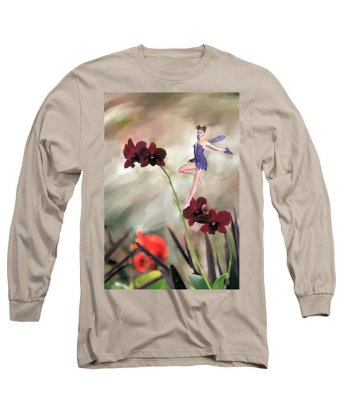 Long Sleeve T-Shirt featuring the photograph Fairy In The Orchid Garden by Rosalie Scanlon