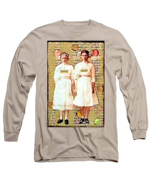 Long Sleeve T-Shirt featuring the mixed media Faithful Friends by Desiree Paquette