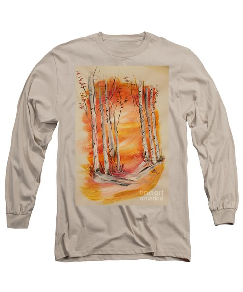 Long Sleeve T-Shirt featuring the painting Fall Aspen On Paper by Janice Rae Pariza