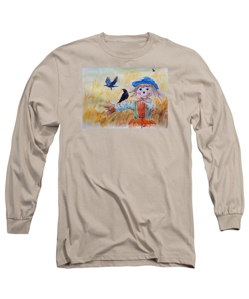 Long Sleeve T-Shirt featuring the painting Fall Smile by Jieming Wang