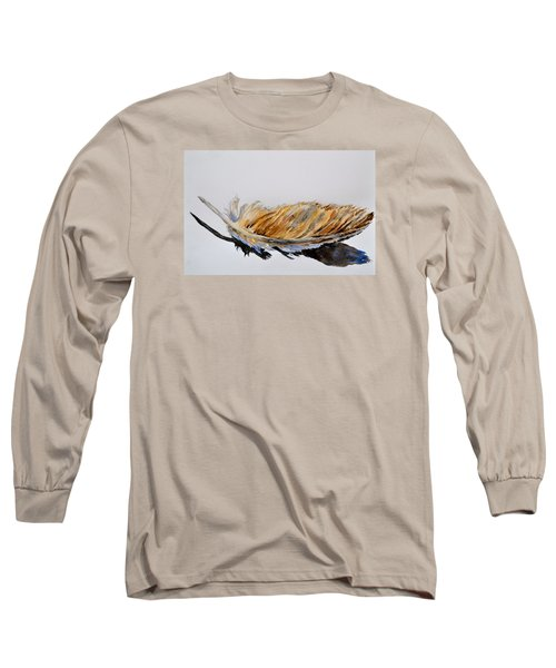 Long Sleeve T-Shirt featuring the painting Fallen Feather by Beverley Harper Tinsley