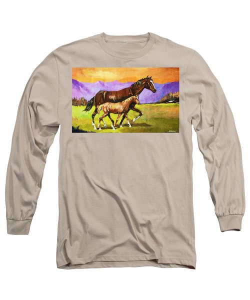 Family Stroll Long Sleeve T-Shirt by Al Brown