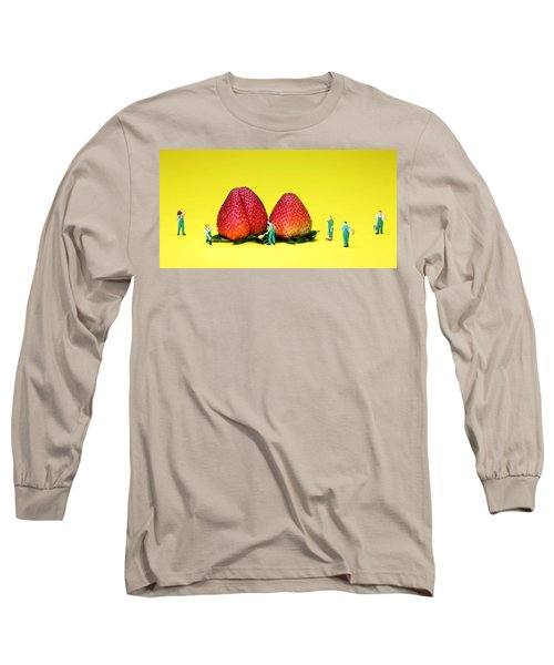 Farmers Working Around Strawberries Long Sleeve T-Shirt by Paul Ge