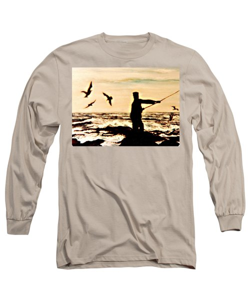 Long Sleeve T-Shirt featuring the mixed media Father Fisherman by Desline Vitto