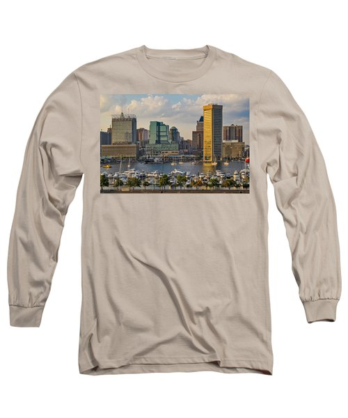 Long Sleeve T-Shirt featuring the photograph Federal Hill View To The Baltimore Skyline by Susan Candelario